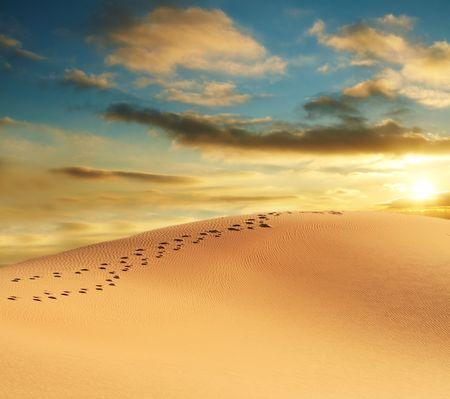 huellas de pies: Los desiertos de dunas  Foto de archivo