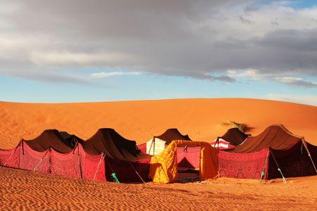 sahara: Touristic camp in Sahara desert Stock Photo