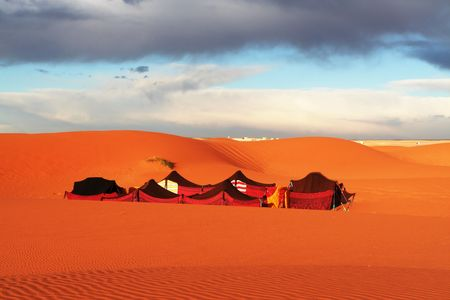 Touristic camp in Sahara desert Stock Photo