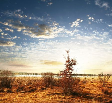 Picturesque rural landscapes on lake Stock Photo - 3267436