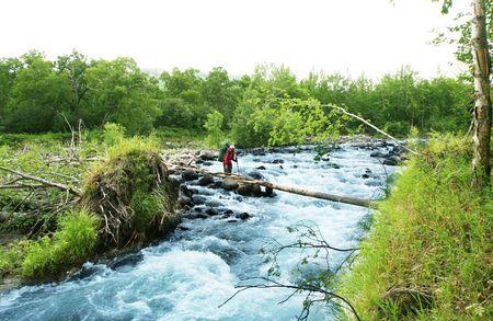 kamchatka: Escursionista in Kamchatka Archivio Fotografico