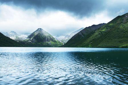 to observer: mountain lake Stock Photo