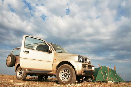 Jeep and tent photo