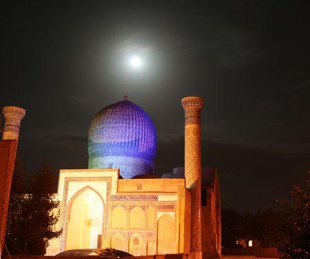 Mosque in moonlight photo