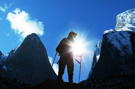 Climber in snowy mountain photo