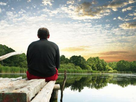 Relaxing on lake Stock Photo