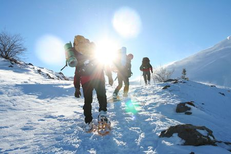 Hike in winter mountain Stock Photo
