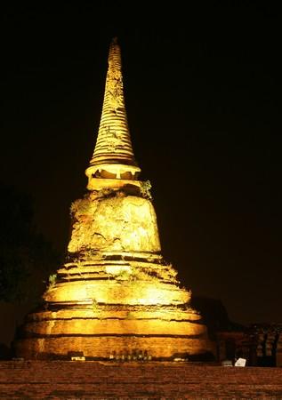 Night in Ayutthaya city photo