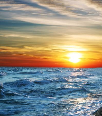 effect sunset: Sea sunset Stock Photo