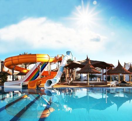 swimmingpool: Colorful aquapark constructions in swimming-pool