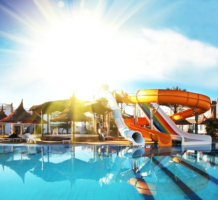 basin mountain: Colorful aquapark constructions in swimming-pool