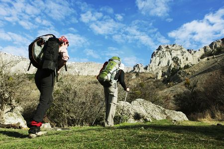 hike: Backpackers in  mountains