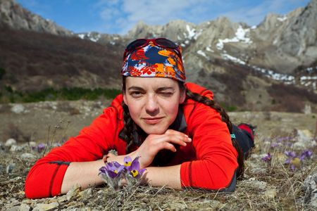 Girl rest  in hike Stock Photo - 4679631
