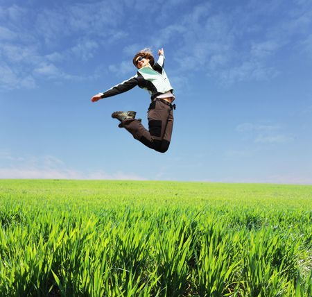 luck: Happiness girl in jump Stock Photo