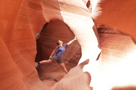 girl climbing in the canyon walls Stock Photo - 4931941