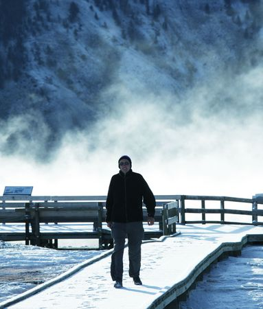 Man on Mammoth Hot spring Stock Photo - 4939694