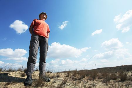 Hike in sand desert Stock Photo - 5061975