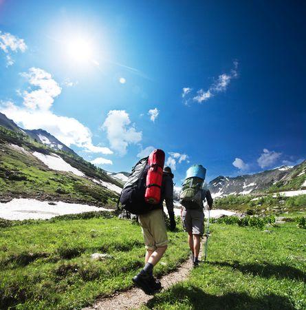 senderismo: Excursionistas en las monta�as
