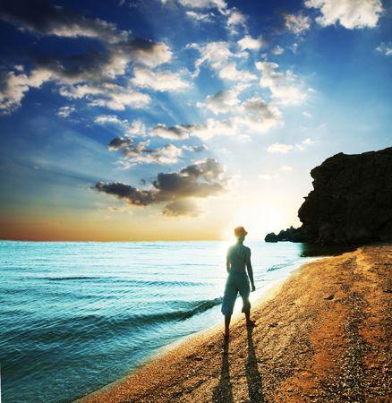 Boy on sea coast