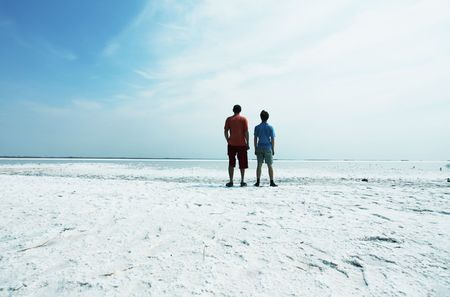 Men and boy on salt lake Stock Photo - 5352855