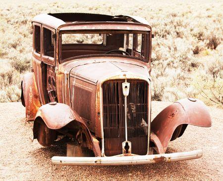 Retro car on route 66 Stock Photo - 5658763