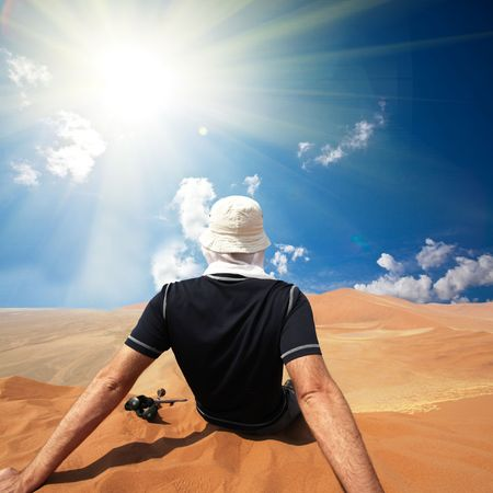 Hike in sand desert Stock Photo - 5653015
