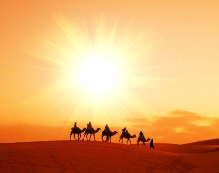 Caravan in Sahara desert photo
