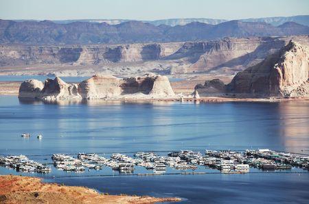 gunsight: boats on Powel lake