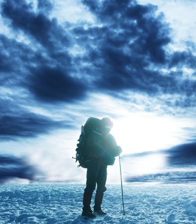 backpacking: hiker in mountains