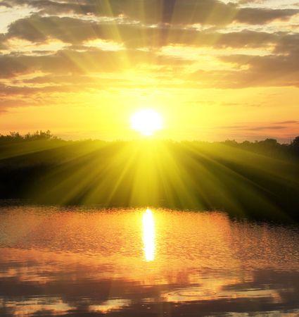 Sunrise scene on lake photo
