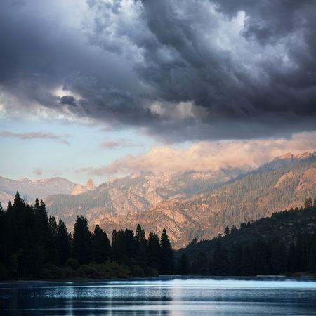 humo: Humo  lake on sunset Stock Photo