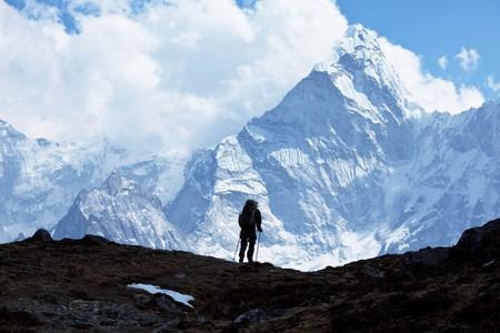 climber: Stijger in Himalaya Berg  Stockfoto