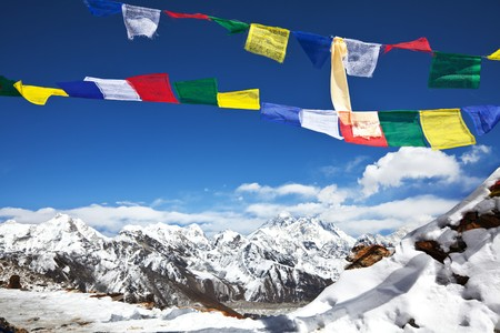 everest: prayer flags in Himalayan