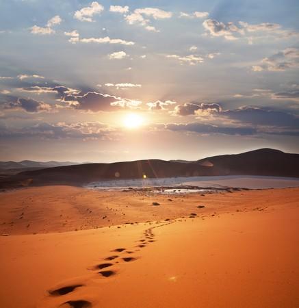 desert footprint: Desert Stock Photo
