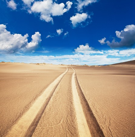 way in sand desert photo