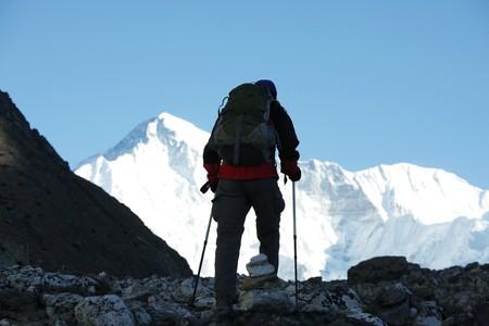 Climber in Himalayan mountain photo