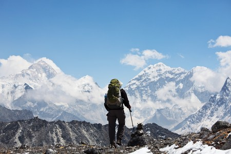 Climber in Himalayan mountain photo