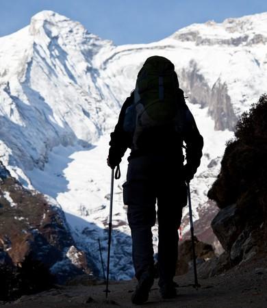 shivling: Climber in Himalayan mountain