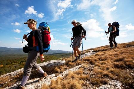 senderismo: Excursionistas  Foto de archivo