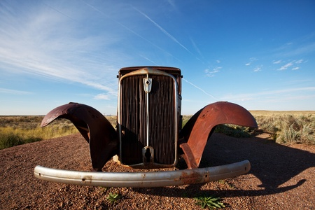 Retro car on Route 66 Stock Photo - 8232587
