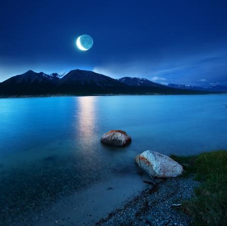 lake at moonlight photo