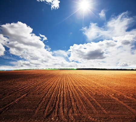 plowed field: ploughed field  Stock Photo