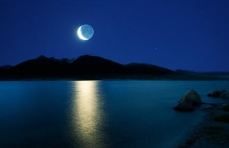 sea at moonlight photo
