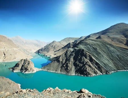 Holy lake in Tibet from Simi-la pass