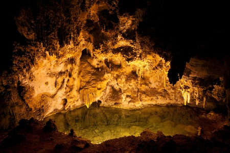 cave exploring: Carlsbad Caverns National Park in USA Stock Photo