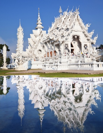 wat: White temple in Chiang Rai province, Northern Thailand