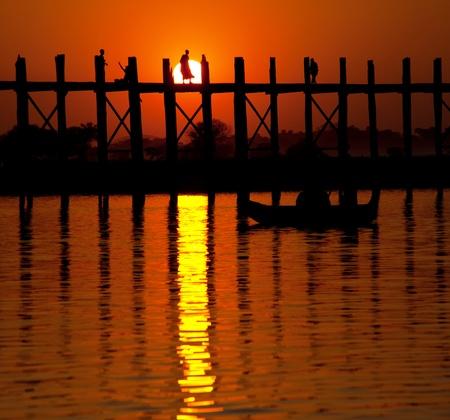wood tick: famous tick  bridge at sunset in Myanmar