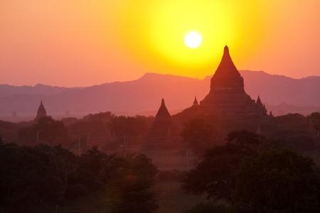 Bagan at sunset in Myanmar photo