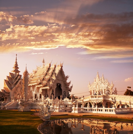White temple in Chiang Rai province, Northern Thailand photo