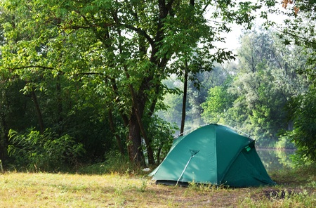camping tent: Tent in summer forest